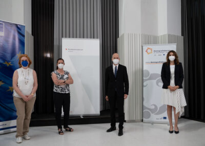 v.l.n.r.: Irene Szimak (DB), Monika Thurnher (ALCO), Martin Kocher (BMA), Alexandra Weilhartner (DB) (c) by Daniel Shaked 2021